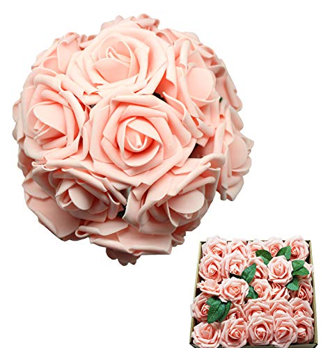En Ge 50pcs Artificial Flowers Pink Roses Real Looking Fake Roses Flowers with Stem for DIY Wedding Bouquets Centerpieces Arrangements Party Home Yard Halloween Decorations