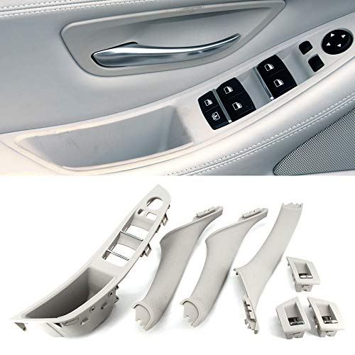 FEXON Driver Side Door Handle for BMW 5 Series,Window Switch Armrest Panel,Inner Pull Handle Trim Panel Cover Kits for 2010-2016 BMW 5 Series 520 523 525 528 530 535 F10 F11 Light Gray