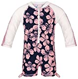Snapper Rock Infant Zippered One Piece Long Sleeve Sun Suit (12-24 Months, Hibiscus Navy / Ballet Pink)