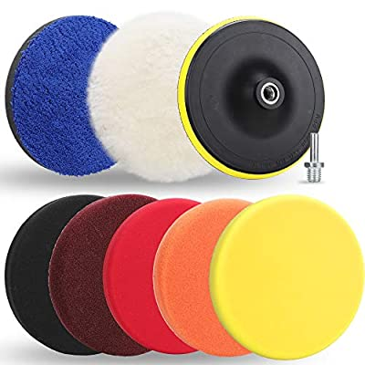 Benavvy 9pcs Polishing Pads Kit, 7 Inches Large Size Buffing Pads, Car Foam Buffing Sponge Pads Kit with M14 Drill Adapter for Car Care Polisher Boat Waxing Polishing Sealing Glaze: Automotive