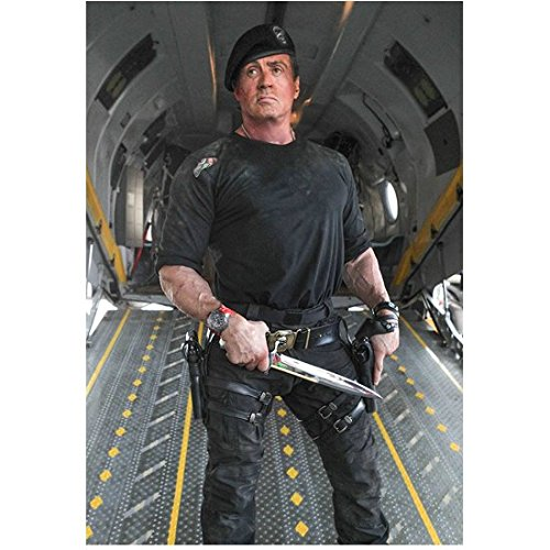 The Expendables (2014) 8 inch by 10 inch PHOTOGRAPH Sylvester Stallone Standing on Ramp of Airplane Holding Big Knife kn