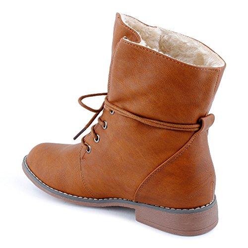 FiveSix Damen Stiefeletten Stiefel Blockabsatz Schnür Biker Boots Freizeit Schuhe Kamel/gefüttert