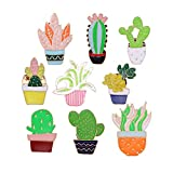 9 Pieces Cute Plant Themed Brooch Pins Set,Cactus and Flower Enamel Lapel Pin Cartoon Badges for Teen Children Girl Clothes Backpacks Decor Birthday Gift