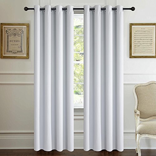 Alice Brown Solid Thermal Insulated Blackout Window Curtains/Draperies/Panels for Bedroom/Living Room/Sliding glass doors Top Fation Grommet by (2 Panel,W52 x L84 –Inch,Greyish White) (Sale Glass)