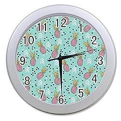 Dong Cun Bai Hawaiian Pineapple Pattern Tropical Personalized Custom Alarm Clock Children Bedroom Custom Wall Clock Black Unique Custom Wall Clock