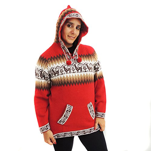 SWEATER Hoodie V Neck alpaca and blend made in PERU INCA RED L (Alpaca Peru Sweaters)