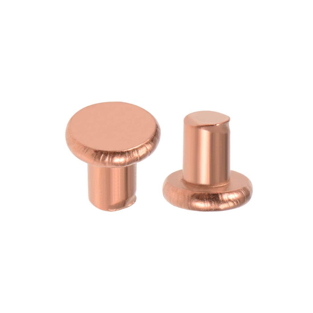 sourcing map 100 Pcs 5//64 x5//32 Flat Head Copper Solid Rivets Fasteners