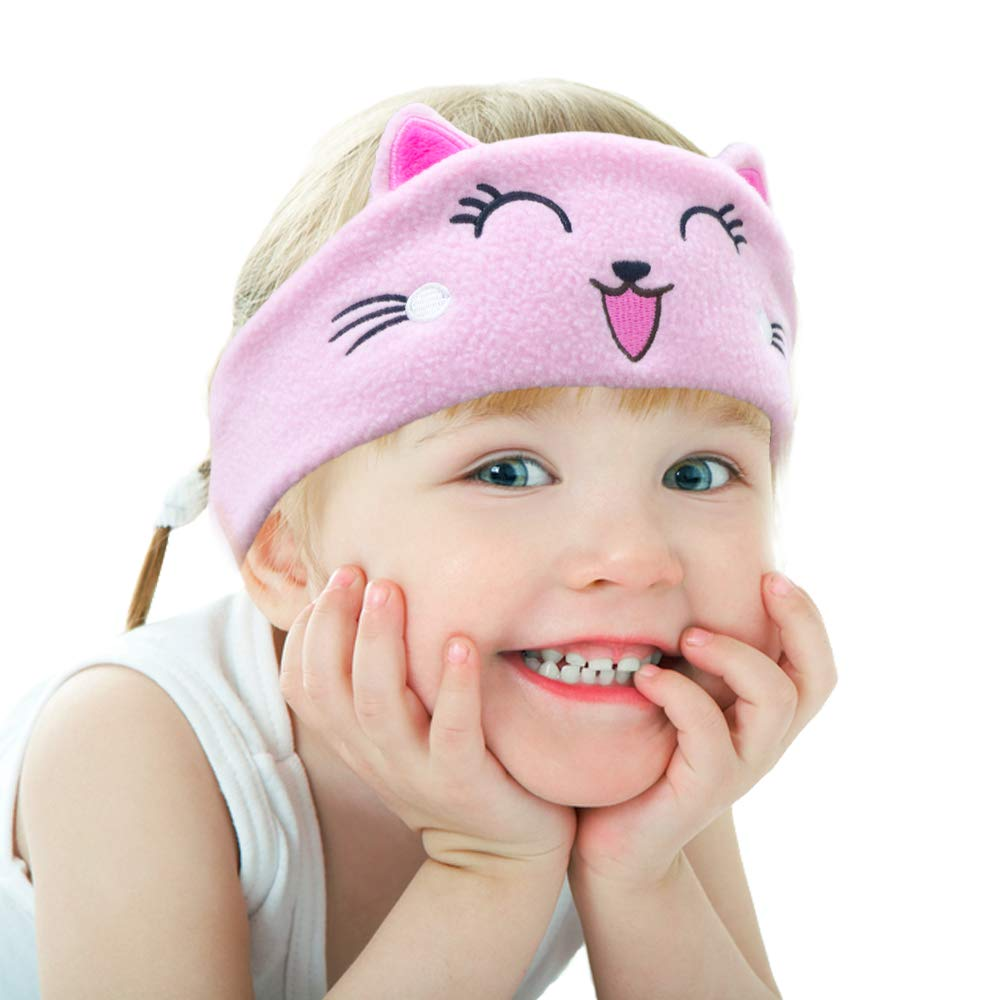 CHOKMAX Kids Headphones, Volume Limiting with Ultra Thin Adjustable Speakers Soft Children Fleece Headband Cat Toddler Headphones for Home and Travel - Pink Kitty
