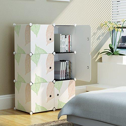 KOUSI Portable Storage Shelf Cube Shelving Bookcase Bookshelf Cubby Organizing Closet Toy Organizer Cabinet Leaf Pattern 6 Cubes
