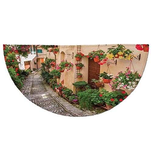 Cheap  Half Round Door Mat Entrance Rug Floor Mats,Tuscan,Entrance to Mediterranean Tuscan House..