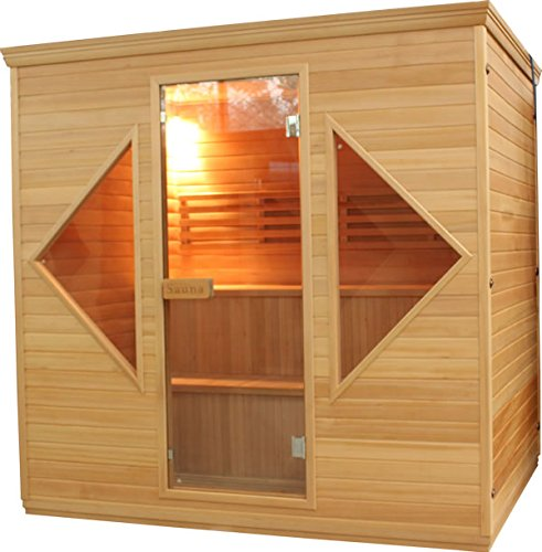 ALEKO CED6HELSINKI1 Canadian Red Cedar Indoor Wet Dry Sauna and Steam Room 4.5 kW ETL Certified Heater 4 to 5 Person 82 x 61 x 81 Inches