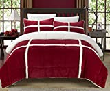 Perfect Home 7 Piece Cindy Sherpa Bed in Bag Comforter Set, with White Sheet Set (Queen, Red)