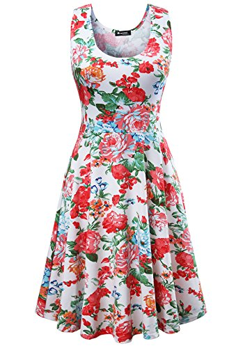 - Measoul Womens Casual Fit and Flare Floral Sleeveless Party Evening Cocktail Dress,White,Medium