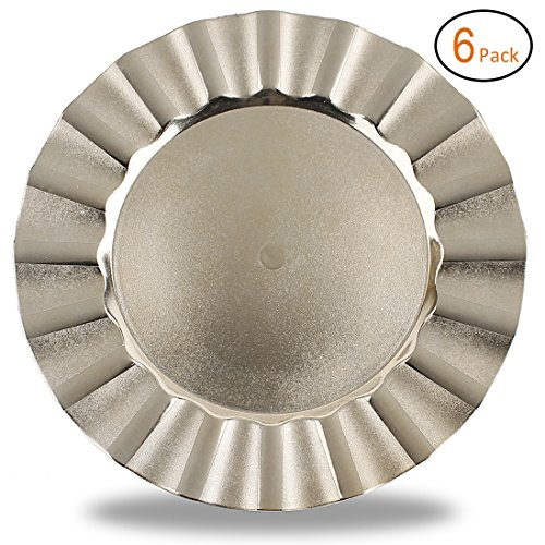 FANTASTIC :)  Round 13 Inch Plastic Charger Plates with Eletroplating Finish (6, Wave Edge Gold) - Edge Service Plate
