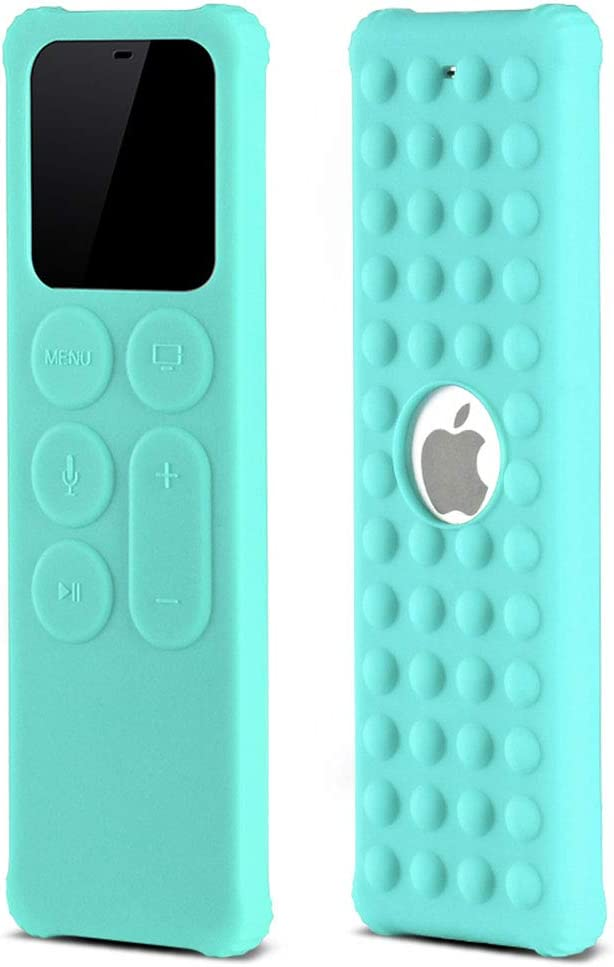 BUJIDAO Protective Case for Apple TV Siri 4K 5th / 4th Gen Remote, Protective Silicone Remote Cover for Apple TV Siri Remote Controller Lightweight Anti Slip Shock Proof (Cyan)