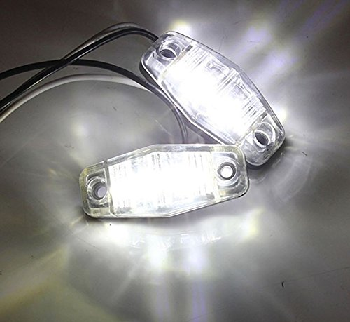 4x 12V 24V 2 LED Side Chrome Bezel Marker White Clear Lights TRUCK LORRY TRAILER DOT