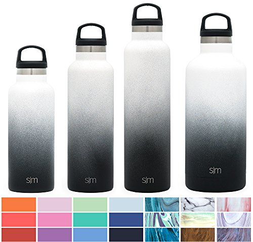 Simple Modern 24oz Ascent Water Bottle - Stainless Steel Hydro Swell Flask w/Handle Lid - Double Wall Vacuum Insulated Reusable Tumbler Small Kids Coffee Leakproof Thermos - Tuxedo (Water Steel Bottle Stainless)