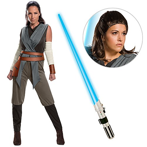Star Wars Episode VIII: The Last Jedi - Women's Classic Rey Costume with Wig and Lightsaber - Large -