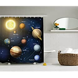 Ambesonne Art Decor Collection, Solar System Orbit The Sun with Names of Planets Geography Educational Picture, Polyester Fabric Bathroom Shower Curtain Set with Hooks, Yellow/Black/Dark Blue/Brown