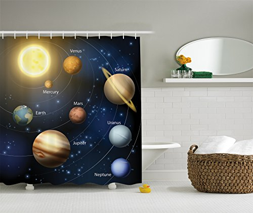 Ambesonne Art Decor Collection, Solar System Orbit The Sun with Names of Planets Geography Educational Picture, Polyester Fabric Bathroom Shower Curtain Set with Hooks, Yellow/Black/Dark Blue/Brown ()