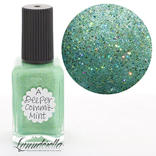 Lynnderella Limited Edition Micro Glitter Green Holographic Nail Polish-A Deeper CommitMint