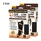 Copper Compression Socks Relieve Ache Soreness Recovery Support for Running Athletic Medical Pregnancy Travel Hiking Sports As You Seen On TV (2 Pair, L/XL)