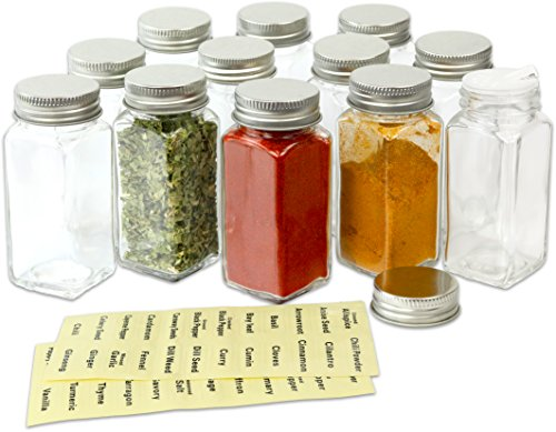 SimpleHouseware 12 Square Spice Bottles w/ label Set - Glass Spice