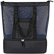 Mesh Beach Tote Bag 2 in 1 Lightweight Picnic Bag with Zipper Insulated Cooler