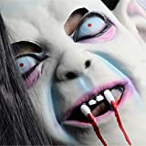EVINIS Eco-Friendly Material Halloween Mask Sadako Pullover Horror Party Cosplay Mask,Latex Creepy Scary Halloween Toothy Zombie Ghost Mask Scary Emulsion Skin with Hair