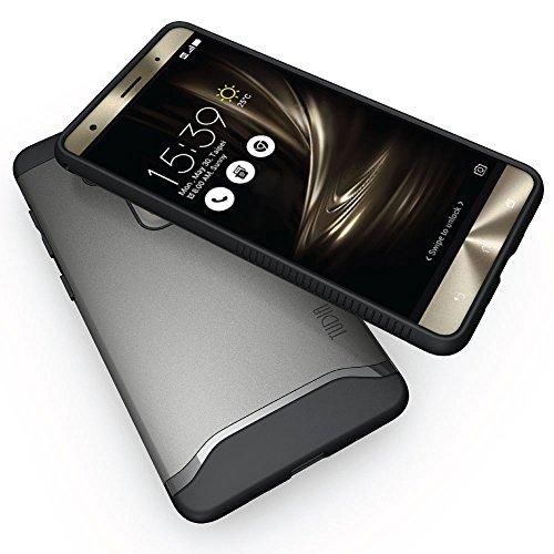 ZenFone 3 Deluxe Funda, Caja protectora TUDIA MERGE TAREA PESADA Protección EXTREME de doble capa para ASUS ZenFone 3 Deluxe ZS570KL (Negro Mate) Grafito