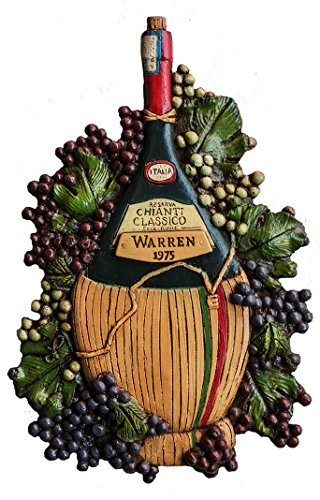 Chianti Carved Bottle Wine Wall Art Personalized with a Name and Date