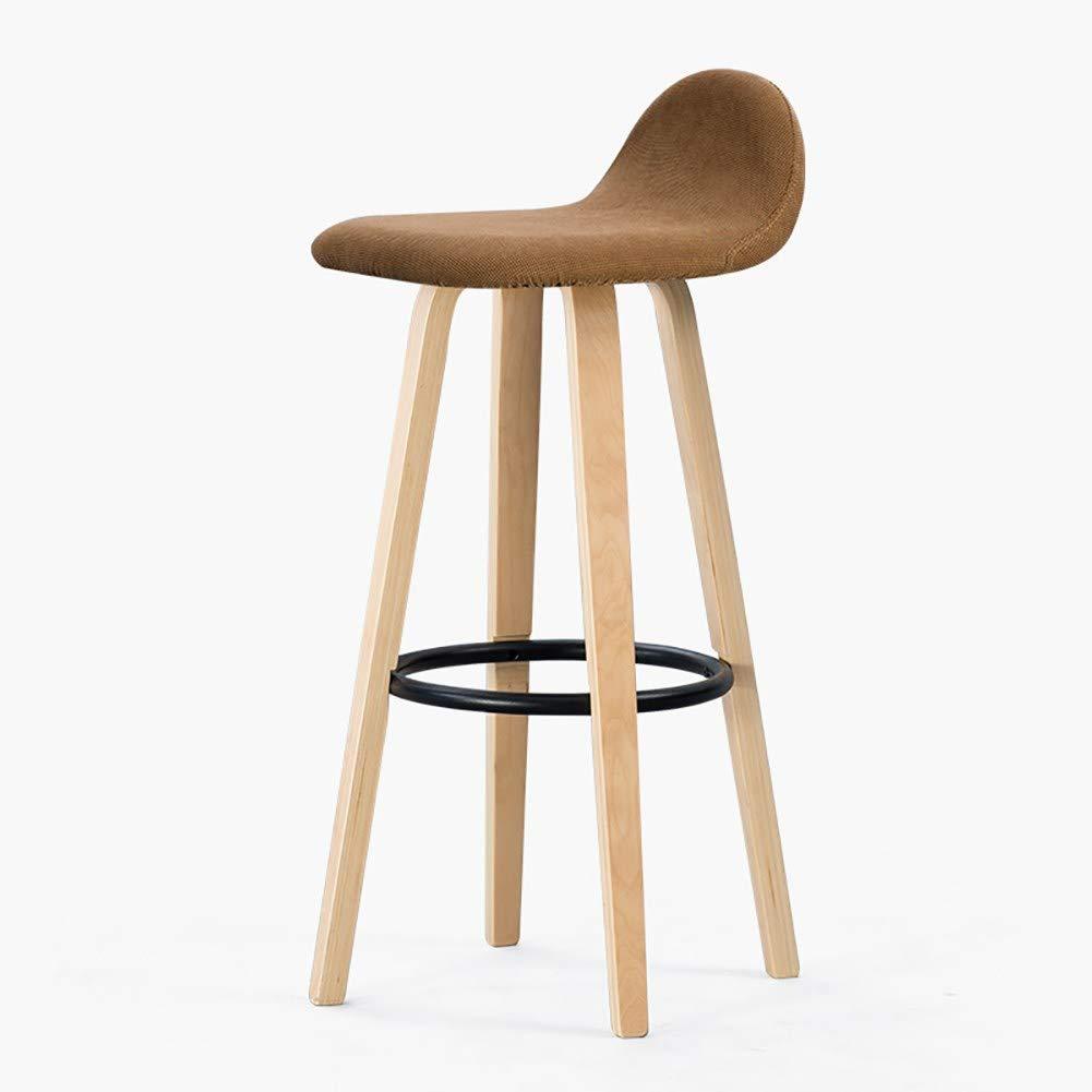 Mesurn JP シンプルバー背もたれ椅子、無垢材広葉樹ダイニングチェア、リビングルームオフィス快適な背もたれ椅子、ホームフロントデスクハイスツール B07SMTGWYD yellow brown