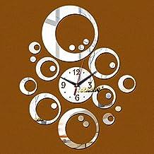 Wall stickers cc 3D Diy Mirrior Clock Wall Clocks Watch Large Home Decorative Living Room Needle Quartz Acrylic ,Sliver