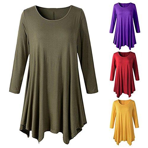 Cuello Vintage Camisetas Casual Camisas Mujeres Manga Tamaño 1 Larga Redondo Mini Color Vestido A Más Hibote Estampadas Camisetas Blusas Camisetas Largas Vestido Linear Góticas 1XEqOO