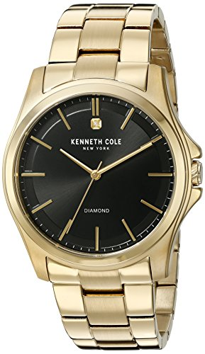 Kenneth Cole New York Men's 'Diamond Rock Out' Quartz Stainless Steel Dress Watch, Color: Gold-Toned (Model: 10027421)