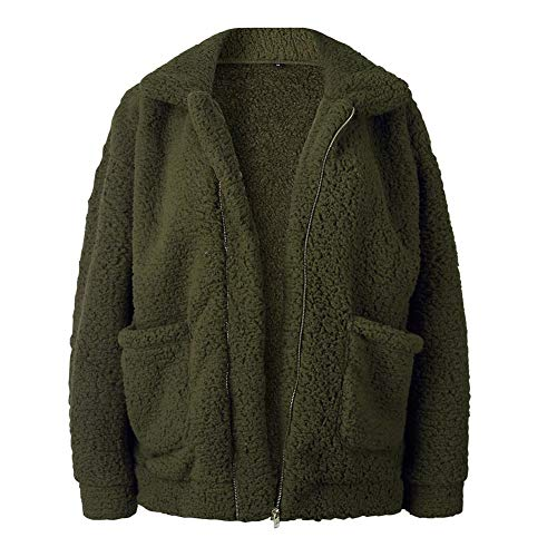 Yixiudz Femmes Manteau Chaud Hoodie Outwear Dcontract Veste Peluche Zip Hiver Vert