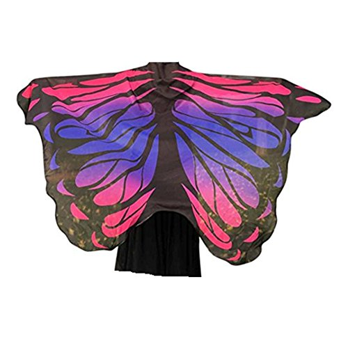 VESNIBA Soft Fabric Butterfly Wings Shawl Fairy Ladies Nymph Pixie Costume Accessory (197125CM, Hot Pink-4) -