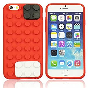 OnlineBestDigital - Brick Style Soft Silicone Case for Apple iPhone 6 Plus (5.5 inch) Smartphone - Red