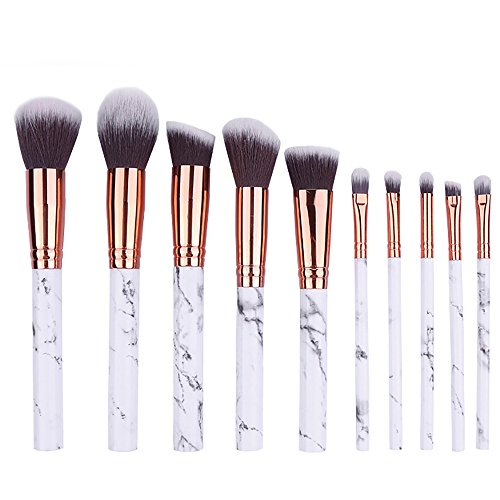 Essential Makeup Brushes Set with Marble Print Handle 10 PCS/ Set Blending Shading Foundation Powder Cream Contour Eyebrow Eyeliner Blush Concealer Cosmetic Tools for Every Makeup Lovers by DMZing (Doll Eyes Makeup Tutorial Halloween)