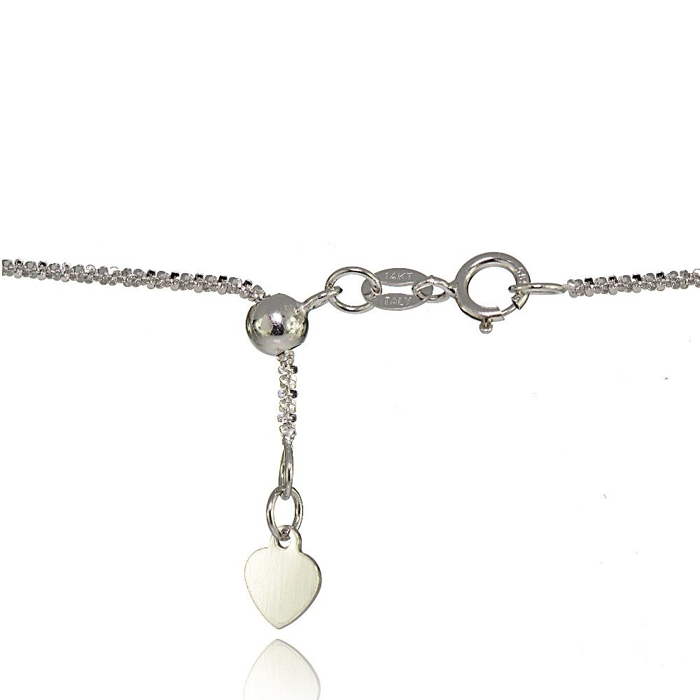 Bria Lou 14k White Gold 1.3mm Italian Rock Rope Adjustable Chain Anklet, 9-11 Inches by Bria Lou (Image #2)