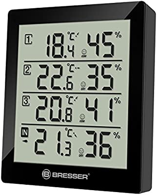 Bresser 7000020CM - Termómetro e higrómetro Temeo Hygro Quadro para 4 puntos de medida, negro