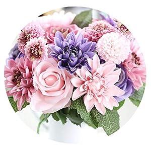 HuaHua-Store Artificial Flowers Bouquet Rose Fall Vivid Fake Flower for Wedding Home Party Christmas Decor Silk Flower 1