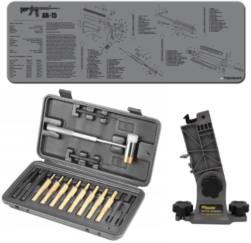 Wheeler Engineering Hammer and Roll Pin Punch with Hard Plastic Case 951900 + Wheeler Delta Series Model 4/15 16 .223 5.56 Mag Well Lower Block 156211 + Ultimate Arms Gear Gunsmith & Armorer's Deluxe Model 4/15 16 .223 5.56 Rifle Bench Grey Gray Neoprene Schematics Gun Cleaning Mat - Kit