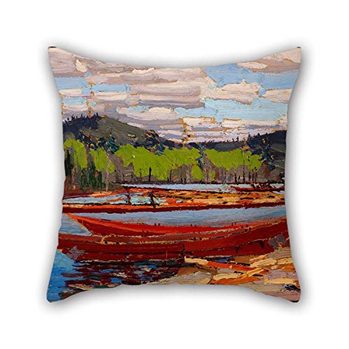 Floor Bateau - Artsdesigningshop Throw Cushion Covers of Oil Painting Tom Thomson - Bateaux for Dance Room Teens Study Room Floor Car Wedding 16 X 16 Inches / 40 by 40 cm(Two Sides)