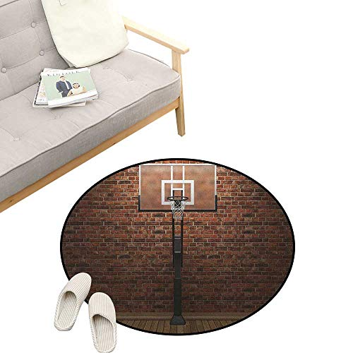 Basketball Round Carpet ,Old Brick Wall and Basketball Hoop Rim Indoor Training Exercising Stadium Picture, Kids Room Bedroom Bedside Rug 23