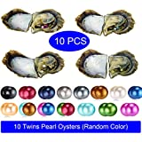 HENGSHENG Pearl Oyster 6.5-7 mm Nearly Round Loose Pearls 10 PCs Akoya Saltwater Twins Pearls Oysters Random Color