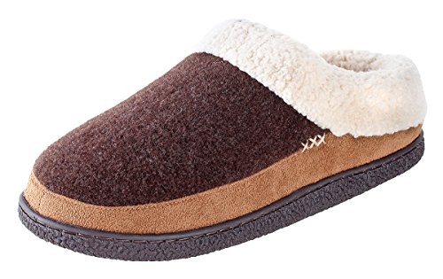 Willowbee Evelyn Suede Slippers Women | Memory Foam Padding | Micro-Suede| Rubbber Sole | Velveteen Lining | Slippers for Women | Brown/Tan - US 8-9 (Sole Suede Rubber Pumps)