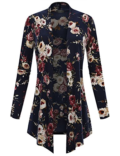 BIADANI Women's Open Front Lightweight Cardigan Floral Print 12370 Navy X-Small