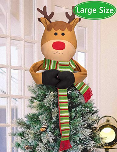 Moon Boat Christmas Tree Topper Reindeer Hugger - Xmas/Holiday/Winter Wonderland Party Decorations Ornaments Supplies