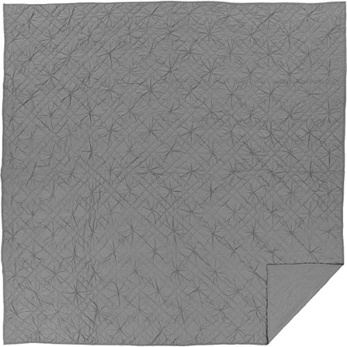 Squares Coverlet Satin (VHC Brands Farmhouse Bedding-Aubree Grey Quilt, Queen, Smoke)